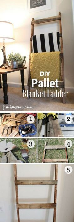Check out how to build an easy DIY Pallet Blanket Ladder from pallet wood @istandarddesign