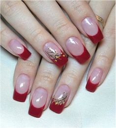 French Manicure with Red Tips and Accent Nail with Flowers