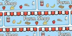 A colourful display banner for your classroom for your Farm display or Farm Shop role play area. Sheep Pig, Role Play Areas, Display Banners, Farm Shop, Scene, Shopping, Stage