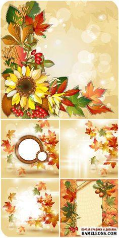 Красивые осенние фоны с осенними листьями, цветком подсолнуха - Векторный клипарт   Autumn backgrounds vector