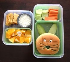 Creative, Cute, and EASY bento lunches/snacks for your child at home or at school!  Hoppy Easter!    adventuresinbentoboxes.blogspot.ca
