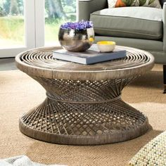 Safavieh Grimson Coffee Table Grey This Coffee desk will add a recent look to any room This Coffee desk encompasses a gray white wash End Crafted of mango rattan Coffee Desk, Coffee Table Grey, Rattan Coffee Table, Large Coffee Tables, Coffee Table With Storage, Modern Coffee Tables, Living Room Grey, Living Room Furniture, Tropical Style