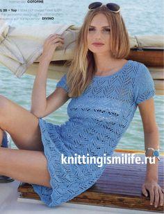 Вязаное ажурное мини – платье