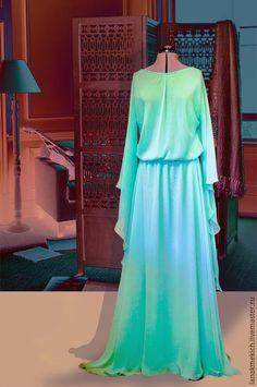 """Купить летящее платье из шифона """"Цвет Тиффани"""" - мятный, однотонный, свадебное платье"""