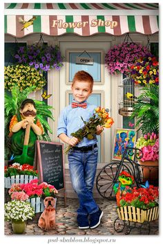 коллаж цветочный магазин Photoshop, Kindergarten, Collage, Book, Frame, Illustration, Flowers, Pictures, Photography