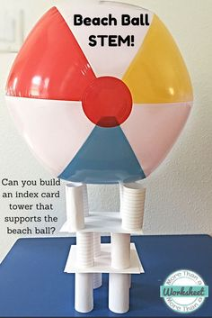Powers of 10 Math Face Off Simple STEM Challenge! Can you construct a tower that supports a beach ball using only 20 index cards and tape? This station is included in Beach Ball STEM Stations. Perfect for the last week of school! End Of Year Activities, Steam Activities, Group Activities, Group Games, Summer Activities, Fraction Activities, Activity Days, Stem Science, Science For Kids