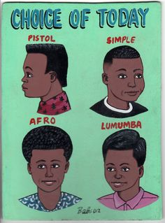 Choice of Today - Pistol - Simple - Afro - Lumumba - African Barber Sign - Burkina Faso African Image, African Art, Arte Popular, Afro, African Hair Salon, Barber Sign, African Shop, Hair Today Gone Tomorrow, Salon Signs