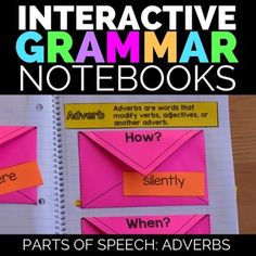 Adverbs:  Adverbs Interactive Grammar Notebooks This comprehensive adjectives interactive notebook resource has everything you need for teaching nouns in the K-2 setting.  Included in this resource, you will have:*  1 Adverbs Sorting Activity with Envelopes                -Adverbs tell...How?