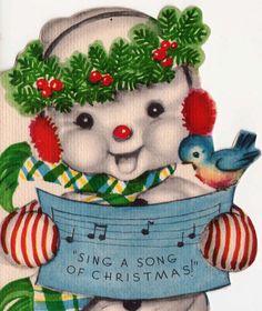 Vintage Christmas Singing Snowman Greetings Card (B1)