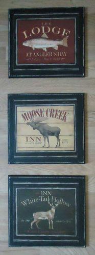Cabin Decor Lodge Rustic Signs Primitive Wall Plaques Fish Moose Deer Set of 3