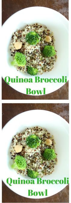 Craving quinoa? This quinoa broccoli healthy bowl recipe is tasty and delicious.  This quinoa bowl mixed with broccoli and garbanzo beans is a great combination of tasty flavors, and fiber. Click here for the recipe or Pin to save for later.