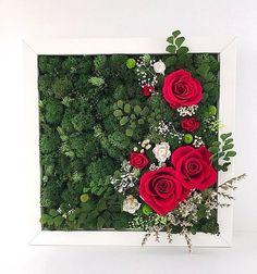 No photo description available. Flower Boxes, Flower Frame, Flower Art, Moss Wall Art, Moss Art, Hotel Flowers, Moss Decor, Garden Mirrors, Flower Wall Decor