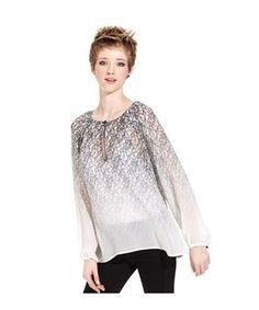 Sanctuary Clothing Ombre Lace-print Top