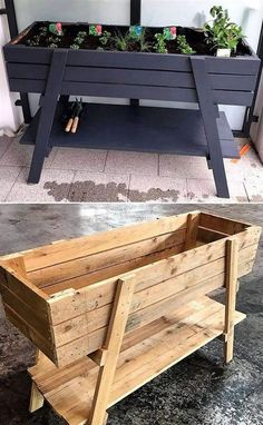 New Projects for Wood Pallet Reusing - Planters - Ideas of Planters - It is the heartiest wish of everyone to have the delicate planter structure at home in which he/she can grow beautiful flowers and fresh plants. But today we are here to Wooden Pallet Projects, Wooden Pallets, Wooden Diy, Pallet Wood, Diy Wooden Planters, 1001 Pallets, Pallet Garden Projects, Pallet Porch, Outdoor Wood Projects