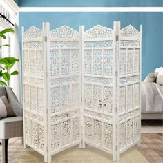 Aesthetically Carved 4 Panel Wooden Partition Screen/Room Divider, Distressed White By The Urban Port Room Divider Headboard, Wood Room Divider, 4 Panel Room Divider, Room Divider Ideas Bedroom, Divider Walls, Freestanding Room Divider, Wall Dividers, Plywood Furniture, Room Deviders