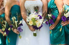 Peacock Inspired Bridal Bouquet and bridesmaids bouquets by Stems by Serendipity