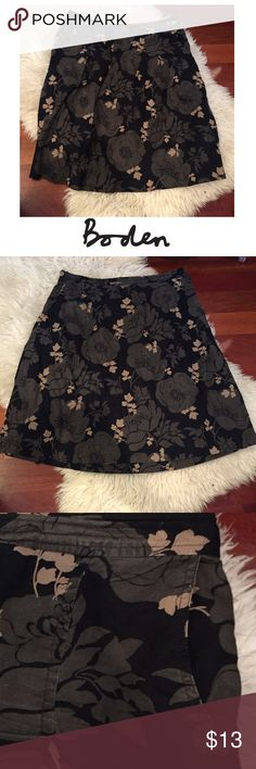 Boden Black Tan & Cream A-Line Floral Skirt Boden Black Tan & Cream A-Line Floral Skirt. 24 inches long. Front pockets. Waist is 16.75 inches. Gently worn. Great condition. Feel free to make an offer or bundle & save! Boden Skirts