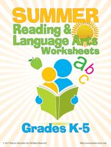 Summer Reading & Language Arts Worksheets (K-5)  Give students a reason to read over the summer, with these word games. Children can enjoy a crossword puzzle, word find, creative writing exercises, reading comprehension activities, and more. Plus, encourage them to keep track of all the books they read over the summer – it will give them a great feeling of accomplishment!