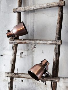 Vintage ladder and clip lights Lampe Industrial, Industrial Living, Industrial Style, Hektar Ikea, Vintage Ladder, Ikea Inspiration, Deco Nature, Home And Deco, Scandinavian Interior