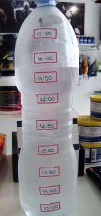 Dica simples e criativa da nutricionista Giseli Paleta para aquelas pessoas que esquecem de beber água durante o dia: - 1 Garrafa pet de 1,5 Lts - Etiquetas... nelas marque os horários e cole na garrafa, e vá fracionando as quantidades de água para não precisar beber tudo de uma vez. Simples assim!