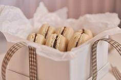 vanilla macarons with dark chocolate ganache....