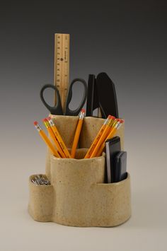 Ceramic desk caddy, stoneware desk organizer, pottery pen and pencil holder, pen and paper caddy by BonnieHornsbyPottery on Etsy