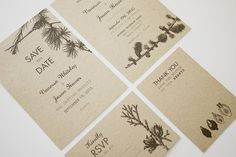Printable/digital rustic woodland tree wedding invitation, Save the Date, RSVP and Thank you; These would look great printed on our eco-friendly cardstock; a great Etsy collaboration!
