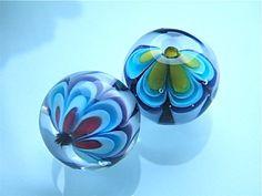 Flower/Star Fantasy beadset 2 beads by Caroline by carolinedousi, $20.00