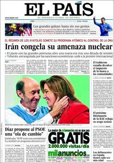 Los Titulares y Portadas de Noticias Destacadas Españolas del 25 de Noviembre de 2013 del Diario El País ¿Que le pareció esta Portada de este Diario Español?