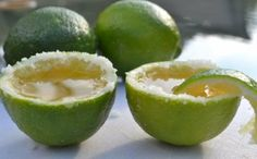 Tequila shot in a lime