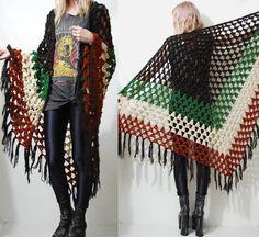 Crochet 70s Vintage SHAWL Cape Poncho Fringe Tassel Knit 1970s Boho Bohemian Hippie Gypsy Fringed Wrap