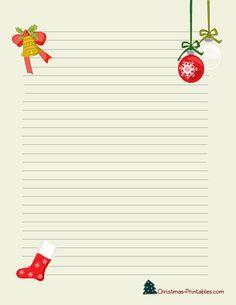 Christmas Stationery Printable With Santa Christmas Tree And