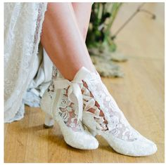 Lizzie elliot ivory lace victorian ankle boot Inspired by vintage styles, step into Victorian elegance with these feminine and romantic lace bridal boots. Featuring a comfortable low heel and almond toe Converse Wedding Shoes, Wedge Wedding Shoes, Wedding Boots, Bride Shoes, Lace Ankle Boots, Designer Wedding Shoes, Romantic Lace, Style Vintage, Vintage Lace