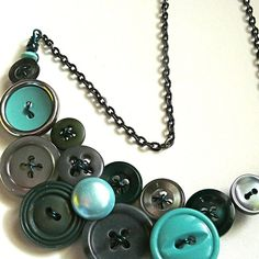 Vintage Button Jewelry Large Necklace in Gray and Teal Blue