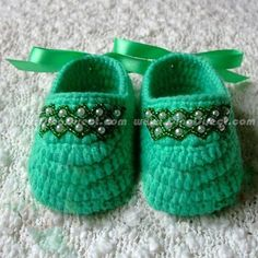 Chaussons crochet perles - Knit slippers