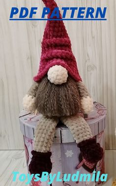 CROCHET PATTERN - Gnome Amigurumi Christmas Stuffed doll Simple instructions Plush handmade items - only in pdf format English only Crochet Toys Patterns, Stuffed Toys Patterns, Crochet Hats, Handmade Ideas, Handmade Crafts, Worlds Of Fun, Handicraft, Christmas Stockings, Baby Gifts