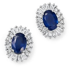 Sapphire Oval and Diamond Stud Earrings in 14K White Gold (2,430,560 KRW) ❤ liked on Polyvore featuring jewelry, earrings, white gold earrings, diamond stud earrings, 14 karat white gold earrings, diamond earrings and 14 karat gold stud earrings