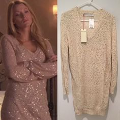 """Shop Women's Stella McCartney Gold Tan size 2 Long Sleeve at a discounted price at Poshmark. Description: Hey upper east siders! For sale is a NWT Stella McCartney gold sequined sweater dress, size IT38, which converts to a US 2 or 4. Seen on Serena Van Der Woodsen in Gossip Girl episode 4x09: The Witches of Bushwick. Original retail was $1325 but I am open to offers! Check out my other listings for more Serena and Gossip Girl items!  Approximate measurements: Length-36""""  Sleeve-25""""  Shou..."""