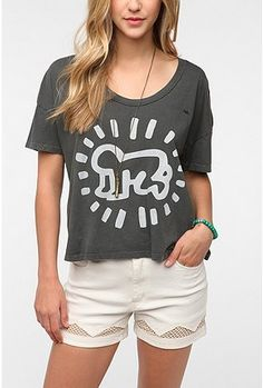 UrbanOutfitters.com  gt  OBEY Keith Haring Baby Cropped Tee Keith Haring f2966c92386c