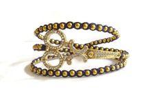 Handcrafted Gold Scissor Wrap Hairstylist Bracelet, Metalwork Hairdresser Jewelry