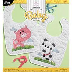 Bucilla ® Baby - Stamped Cross Stitch - Crib Ensembles - Farm Animals - Bib Pair Kit