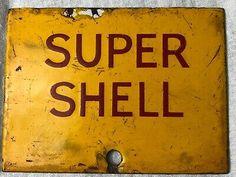 Rare Very Small Vintage Old Original Enamel Super Shell Petrol Advertising Sign Shell Gas Station, Advertising Signs, Shells, Enamel, Posters, Oil, The Originals, Metal, Vintage