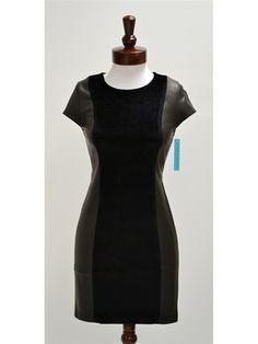 Alice + Olivia Julianna Velvet Leather Combo Dress - NewChicBoutique.com