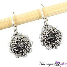 Kolczyki Beaded Swarovski Elements - Silver Night - Beaded / Kolczyki - Tarragon Art - stylowa biżuteria artystyczna