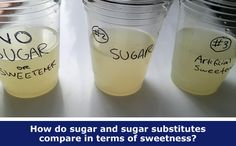"""Sweet Like Sugar?"": Mix up homemade lemonade to compare sweetness of sugar and substitutes in fun family #science activity or student project. [Source: Science Buddies, http://www.sciencebuddies.org/blog/2015/05/sweet-like-sugar-weekly-science-activity-spotlight.php?from=Pinterest] #scienceproject #STEM"