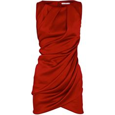 Draped dress ($215) ❤ liked on Polyvore featuring dresses, vestidos, red, vestiti, women, shirred dress, red draped dress, ruching dress, red cocktail dress and ruched cocktail dress