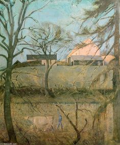 'Big Landscape with Cow', Oil On Canvas by Balthus (Balthasar Klossowski) (1908-2001, France)