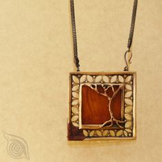 Memories of Africa (necklace); bronze, wood, copper; casting, riveting, patina; by Nady.cz
