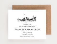 Toronto Canada Skyline Save The Date, Destination Wedding by seahorsebendpress on Etsy