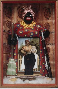 """""""The Liberation of Aunt Jemima"""" by feminist assemblage artist Betye Saar. Her work challenges African-American stereotypes by using African ritual objects, African-American folk symbols and personal memorabilia. African American Artist, American Artists, African Art, American Women, Op Art, Afro, Betye Saar, Aunt Jemima, Political Art"""